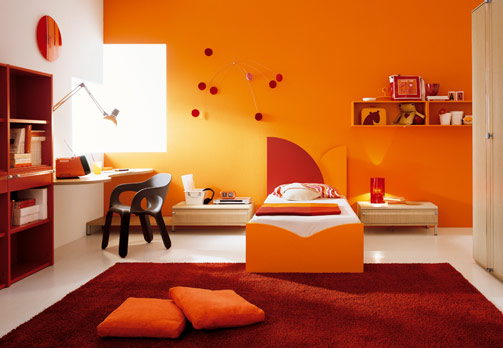 Tips to decorate bedroom with orange and brown color for Brown and orange bedroom ideas