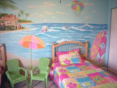 5 water theme ideas for girls bedroom home decor report for Beach mural bedroom