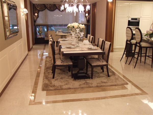 4 simple ideas to plan the right dining room tile home for Dining room tile designs