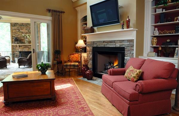 Living room design with corner fireplace home decor report for Small living room ideas with corner fireplace