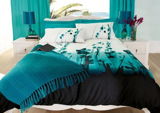 Turquoise black and white bedroom ideas home design inside for Black white turquoise bedroom ideas
