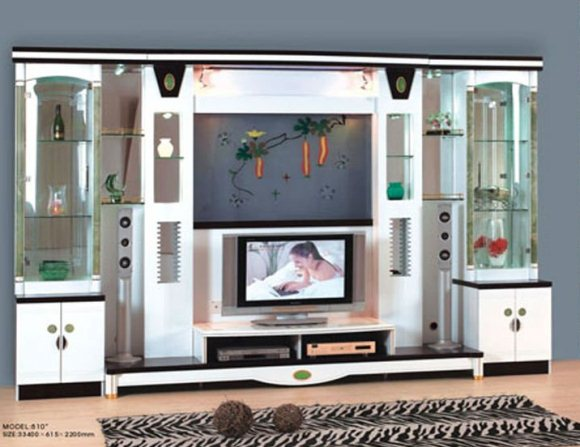 Lcd tv showcase designs home decorating ideas for Wall hanging showcase designs