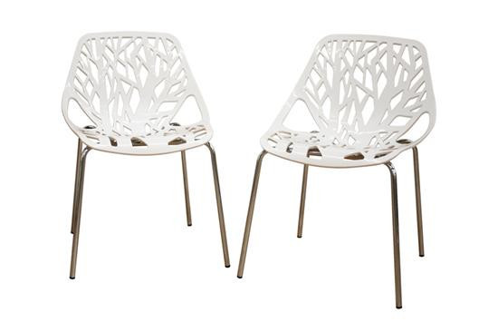 Modern White Plastic Dining Chairs