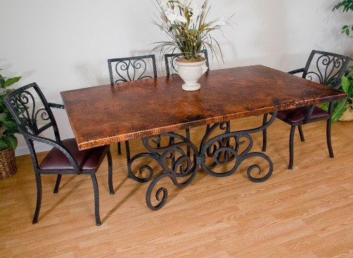 Wooden Dining Table Wrought Iron