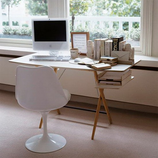 Wooden Office Table Painted White Pic
