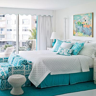 Bright Aqua Bedrooms