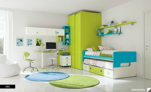 Bright Blue and Green Bedrooms