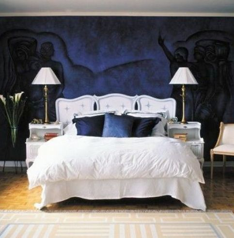 Dark blue bedroom with white brown and black home for Blue and black bedroom ideas