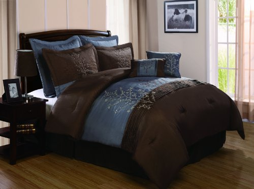 Dark Blue Brown Bedroom