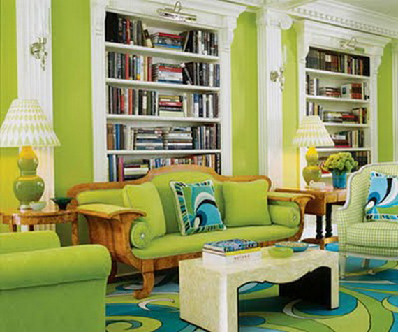 Lime Green Library Walls Pic