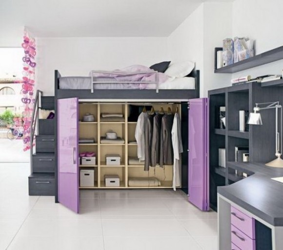 Teenage Girls Bedrooms with High Bed Pic