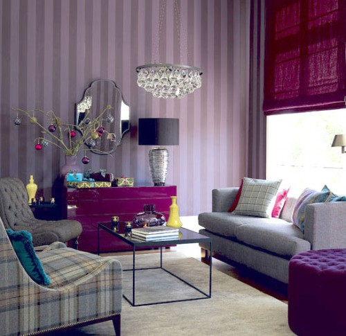 Light purple sitting room home decorating ideas for Purple living room designs