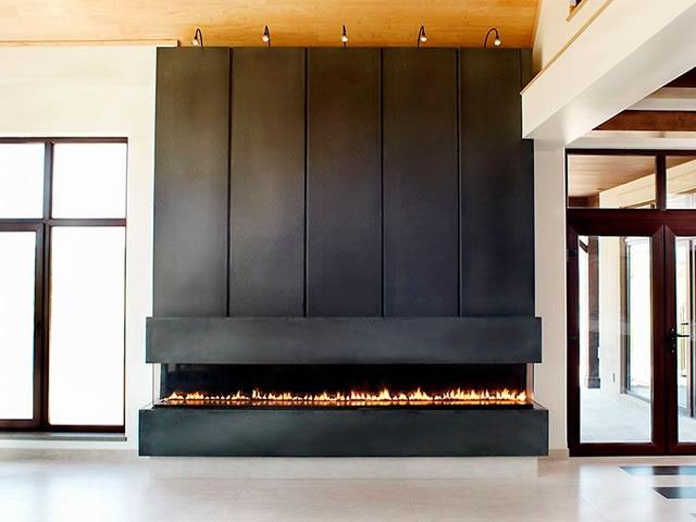 Large gas fireplace