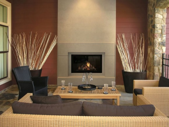 Apartment home decor report Modern living room with fireplace