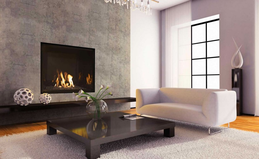 Wall gas fireplace