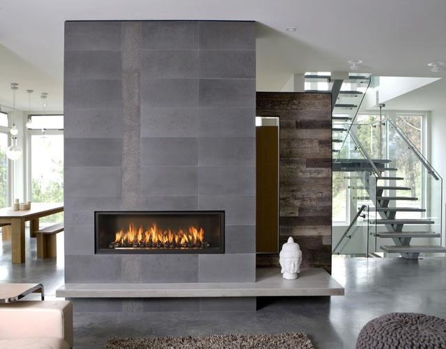 Wide fireplace